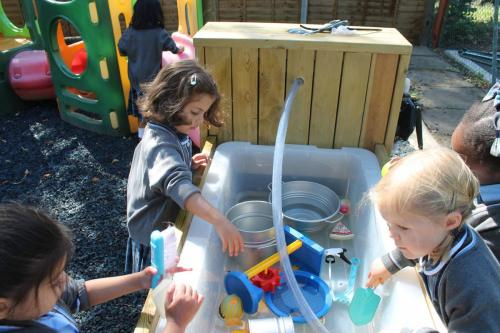 Nursery & Reception enjoying their first day back.